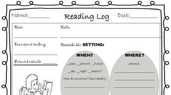 Reading Log With Reading Skills