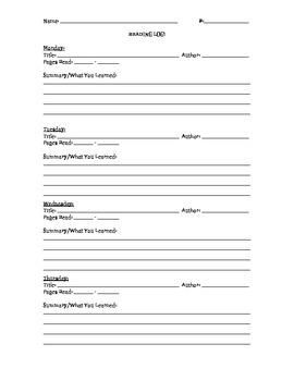 Reading Log Word Study Log Homework