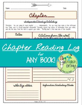 Reading Log Worksheet for ANY Novel or Book