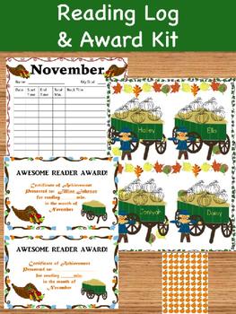 Reading Log an Award Kit November