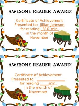 Reading Log and Award Kit November
