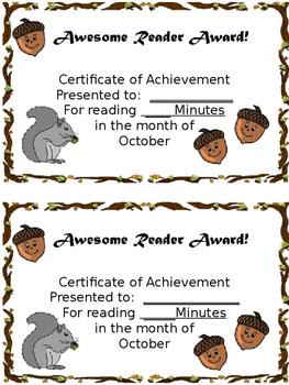 Reading Log and Award Kit