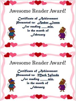 Reading Log and Award Kit February