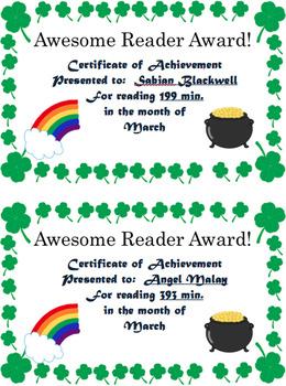 Reading Log and Award Kit March