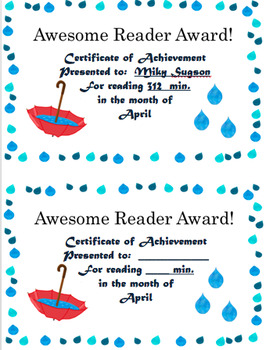 Reading Log and Awards April