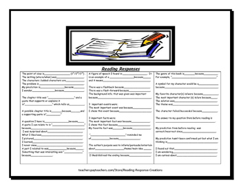 Reading Log with Response Options and Sentence Starters