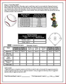 Apri Reading Log Baseball Theme