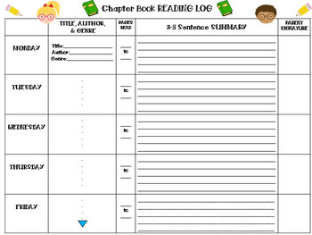 Reading Log for Chapter Books