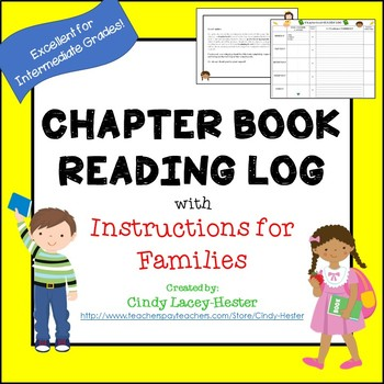 Reading Log For Chapter Books With Parent Letter EDITABLE TpT