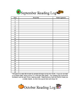 Reading Log for Every Day/ Every Month