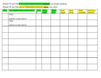 Reading Log for Home/School