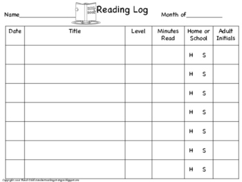 Reading Log for Home and School