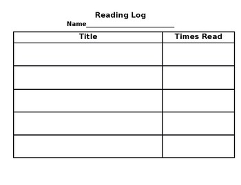 Reading Log for K-2: Frequency