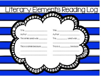 Reading Log for Literary Elements
