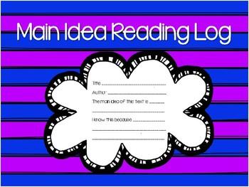 Reading Log for Main Idea