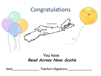 Free Reading Log for Nova Scotia