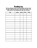 Reading Log for Reader's Notebook and/or Writer's Notebook