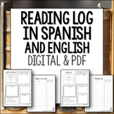 Reading Log for Spanish class in English and Spanish Digital Google Form and PDF