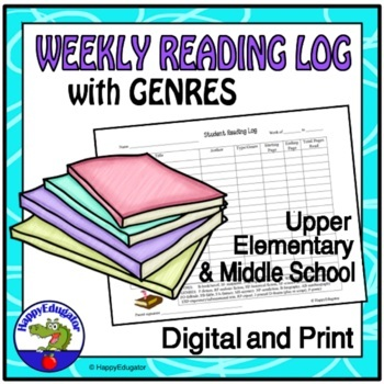 Reading Log with Genres - Weekly Reading Log