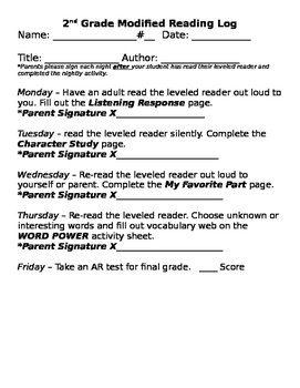 Reading Log for below grade level readers.