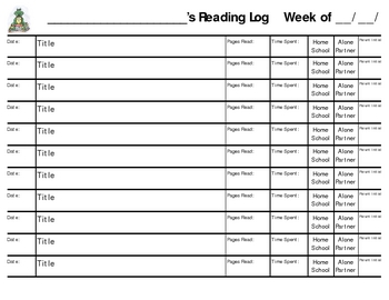 Reading Log for readers J and higher
