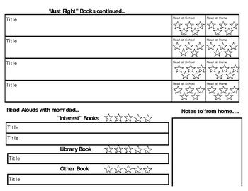 Reading Log for readers levels A thru I