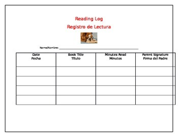 Reading Log in Spanish and English