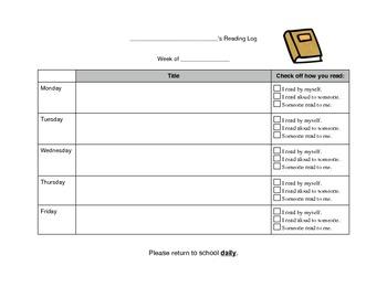 Reading Log - primary