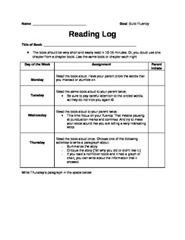 Reading Log to Support Fluency