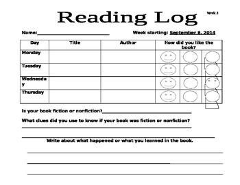 Reading Log week 3