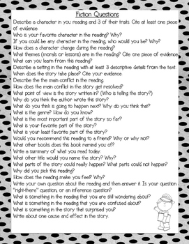 Reading Log with Fiction and Non-Fiction Questions