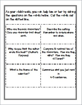 Common Core Reading Log with Instructions & Activities for Families