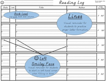 Reading Log with Lines: D'Nealian