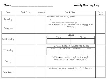 Reading Log with Quick Check