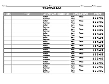Reading Log with Rating System for Elementary Students