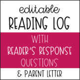 Reading Log with Reader's Responses - Editable