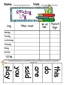 Reading Log with Sight Word Practice (Editable)