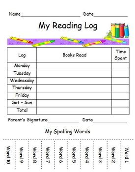 Reading Log with Spelling Words