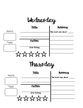 Reading Log with Summary Statements (Monday through Thursday)