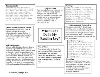 Reading Log/Journal Prompts