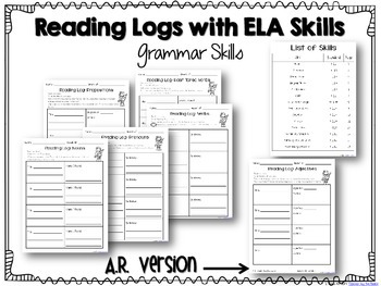Reading Logs Aligned with ELA Skills {CCS Aligned}