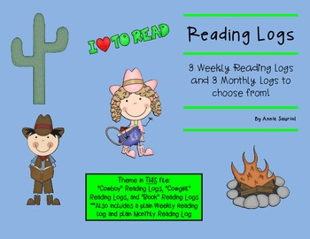 Reading Logs: Daily and Monthly Recording Sheets  ELA Wild West Theme