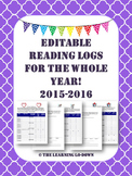Reading Logs: Editable Monthly Reading Logs for the Whole Year