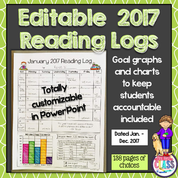 Reading Calendar Logs for 2017  (Editable) Great for Stude