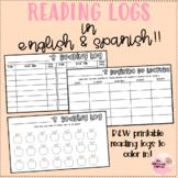 Reading Logs English and Spanish: Printable B&W FREEBIE