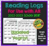 Reading Logs Homework Use with Reading Tracking Program AR Nightly Reading
