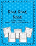 Reading Logs & Homework Sheets for Kindergarten - Full Year's Worth