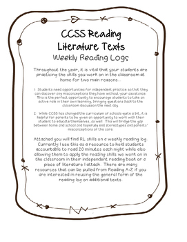 Reading Logs: Literature Texts