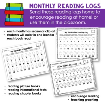 Reading Logs - Monthly - [Counting and Graphing] - for Beginning Readers