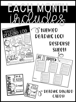 Reading Logs! Monthly Editable Reading Logs, Response Sheets, and More!